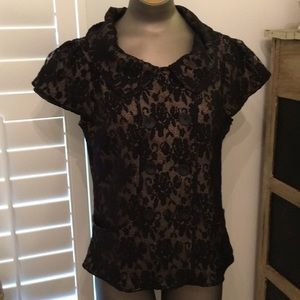 Coldwater Creek Black stretch lace button top 14